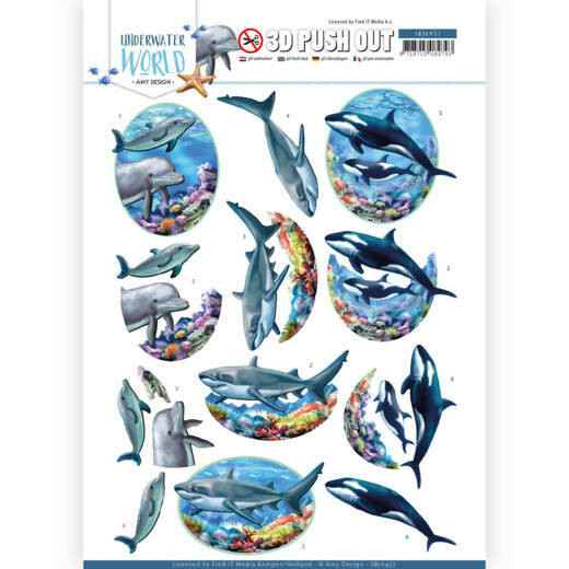 3D Push Out - Amy Design - Underwater World - Big Ocean Animals SB10457