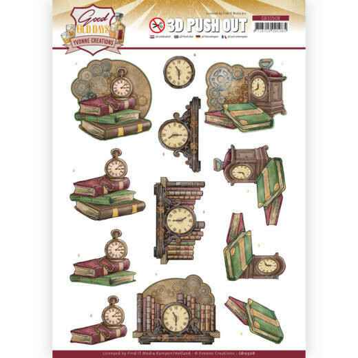 3D Push Out - Yvonne Creations - Good old day's - Clock   SB10508