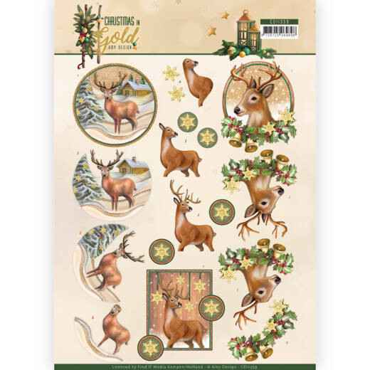 3D Knipvel - Amy Design - Christmas in Gold - Deers in Gold  CD11359