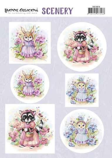 Push Out Scenery - Yvonne Creations - Aquarella - Lovely Animals  CDS10019