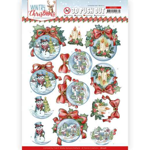 D Push Out - Yvonne Creations - Wintry Christmas - Christmas Baubles  SB10581