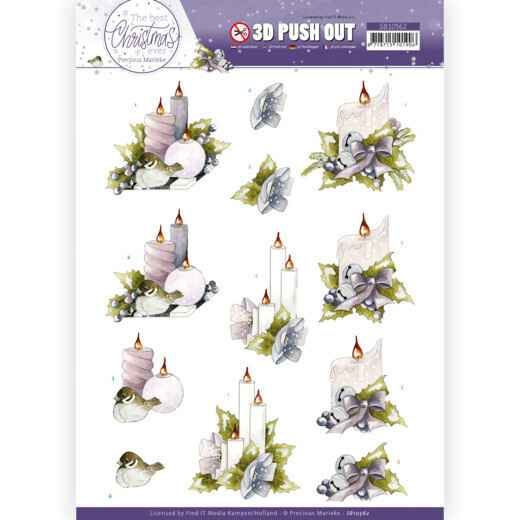 3D Push Out - Precious Marieke - The Best Christmas Ever - Pink Candles  SB10562