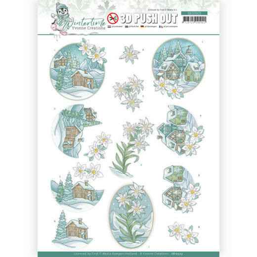 3D Push Out - Yvonne Creations - Winter Time - Edelweiss   SB10503