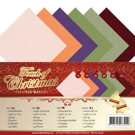 Linen Cardstock Pack - A5 - Precious Marieke - Touch of Christmas  PM-A5-10026