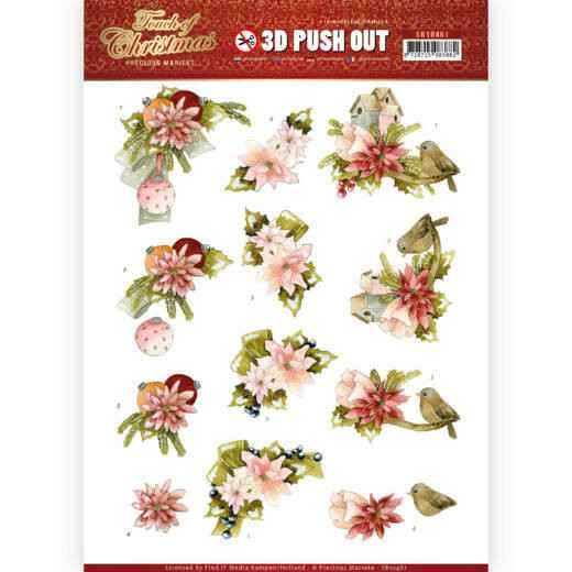 3D Push Out - Precious Marieke - Touch of Christmas - Pink Flowers  SB10461