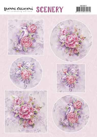 Push Out Scenery - Yvonne Creations - Pink Flowers  CDS10017