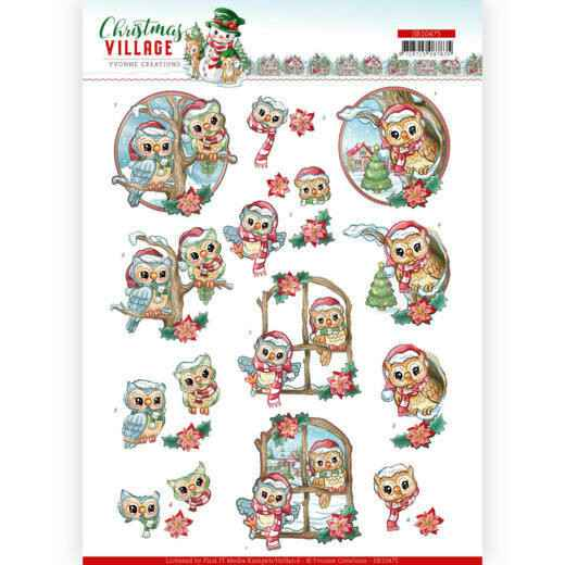 3D Push Out - Yvonne Creations - Christmas Village - Christmas Owls   SB10475