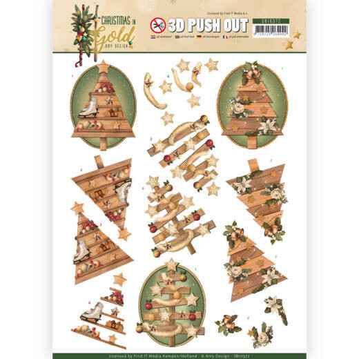 3D Pushout - Amy Design - Christmas in Gold - Trees in Gold  SB10372