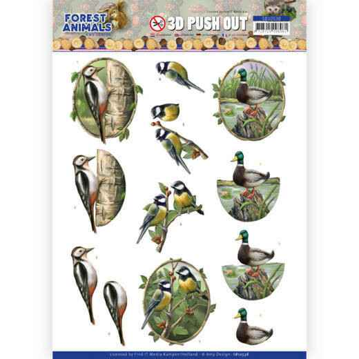 3D Push Out - Amy Design Forest Animals - Woodpecker  SB10538