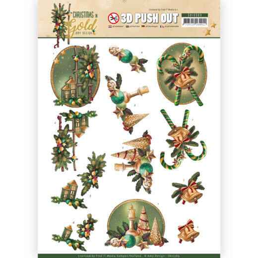 3D Pushout - Amy Design - Christmas in Gold - Lanterns in Gold  SB10369
