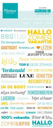 Marianne text stickers Zon zee zand  PL4506