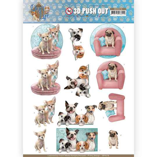 3D Pushout - Amy Design - Dog's Life - All kind of Dogs  SB10378