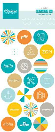 Marianne chipboard stickers Zon zee zand  PL4505