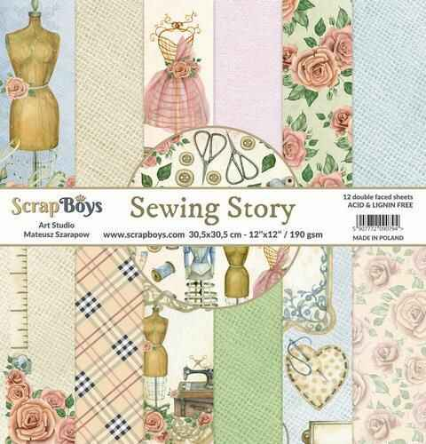 ScrapBoys Sewing Love paperset 12 vl+cut out elements -  190gr 30,5cmx30,5cm