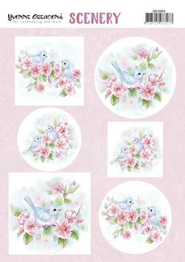 Push Out Scenery - Yvonne Creations - Aquarella - Pink Blossom  CDS10020