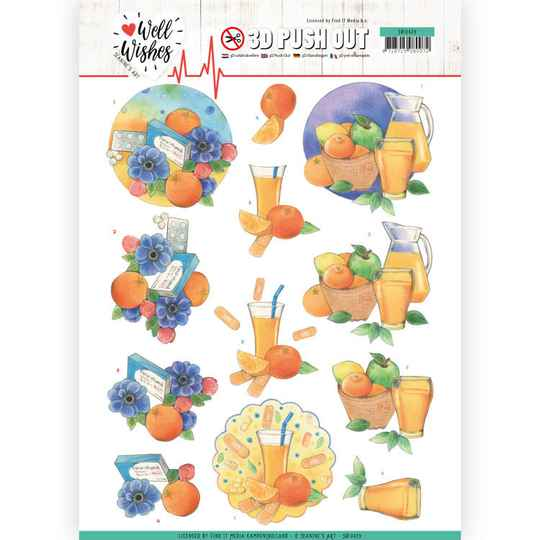 3D Pushout - Jeanine's Art - Well Wishes - Pills and Vitamins   SB10429
