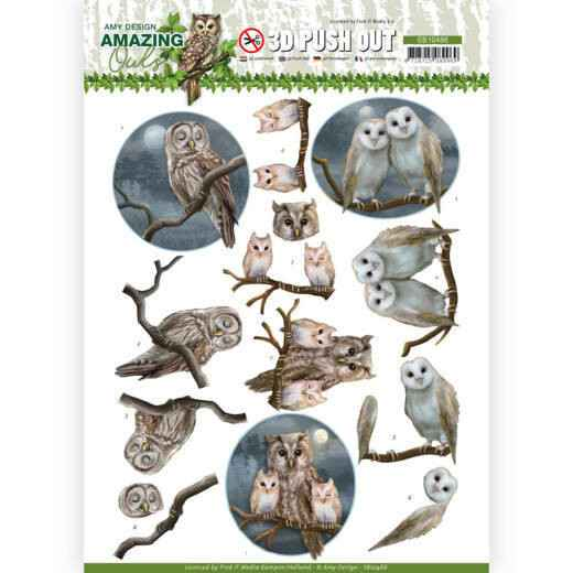3D Push Out - Amy Design - Amazing Owls - Night Owls    SB10486