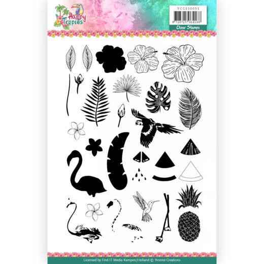 Clear Stamps - Yvonne Creations - Happy Tropics    YCCS10051