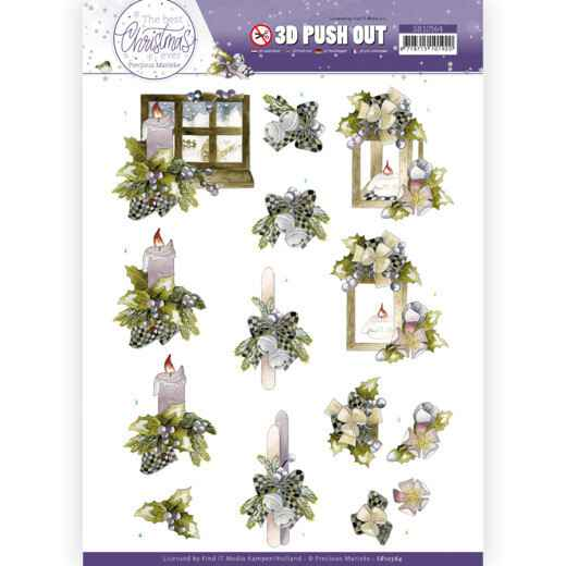 3D Push Out - Precious Marieke - The Best Christmas Ever - Blue Bow and Candles  SB10564
