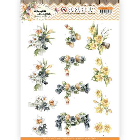 3D Pushout - Precious Marieke - Spring Delight - Violets and Daffodils  SB10425