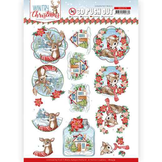 3D Push Out - Yvonne Creations - Wintry Christmas - Christmas Deer  SB10579