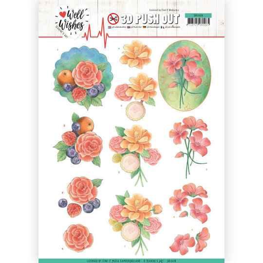 3D Pushout - Jeanine's Art - Well Wishes - A Bunch of Flowers   SB10428