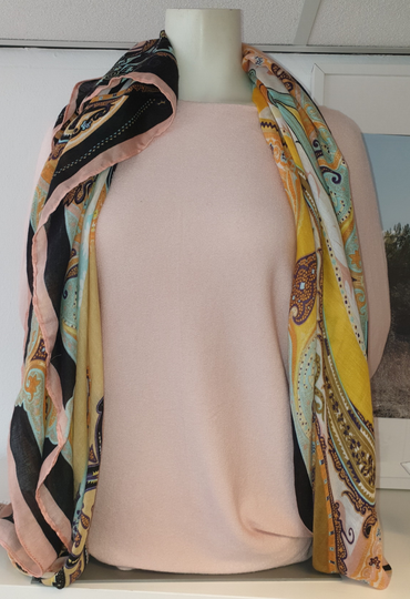 Shawl Paisley - Pink yellow black