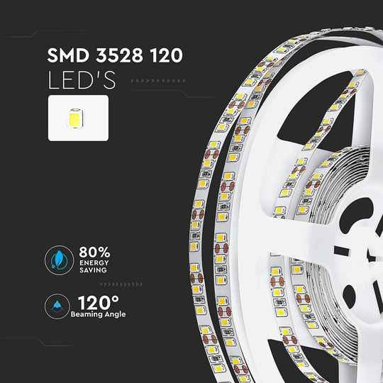 3528-120 7.2W/M LED STRIP - opties 3000K/4000K/6000K IP20 (5M/ROLL)