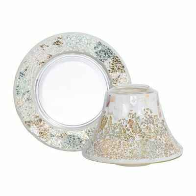 Yankee Candle Gold & Pearl Crackle Small Shade & Tray