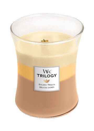 Woodwick Golden Treats Trilogy Medium Geurkaars