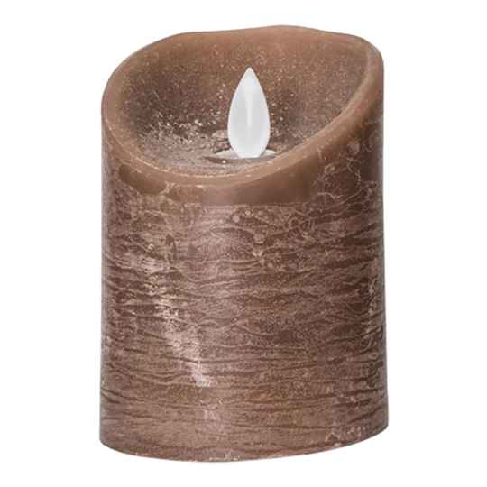 Led Kaars - PTMD LED Light Candle rustic brown moveable flame - Small