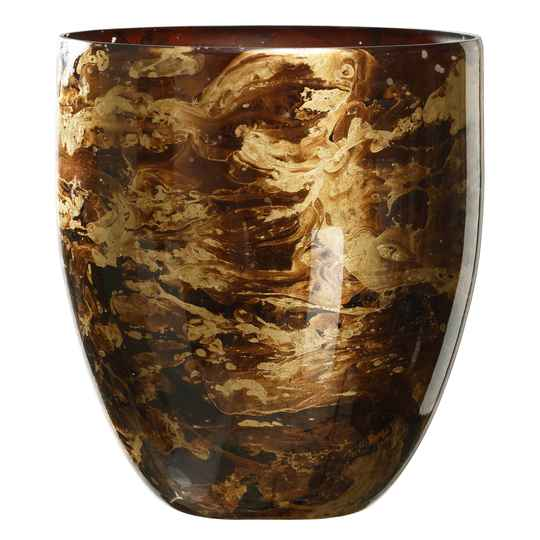 Mayla Marble brown glass tealight bombey - Large