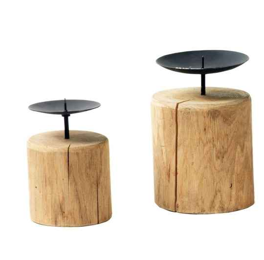 Candlestick on wood 20 cm H