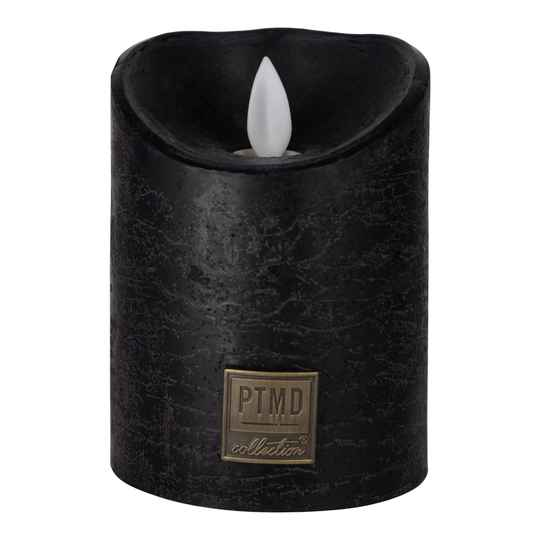 Led Kaars - PTMD LED Light Candle rustic black moveable flame Small