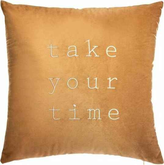 "KUSSEN VELVET OKER 50 X 50 CM ""TAKE YOUR TIME"""