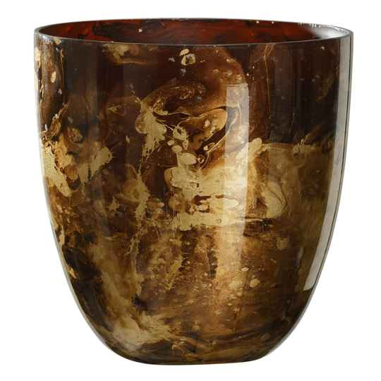 Theelichthouder - Mayla Marble brown glass tealight bombey M