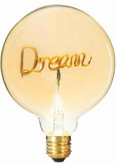 Ledlamp - Tekst Dream - Grote Bolvormige LED - E 27 - diameter 12,5 cm