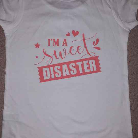 Meisjes t-shirt,i,m a sweet disaster